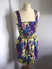 ASOS Cut Out Back Bright Coloured Leaf Flower Print Short Belted Dress Size 10