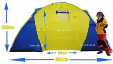 Spacious 4 -10 Person 2 Cabins Family Tent Camping Hiking Dome 4.6mx2mx2m #1601A