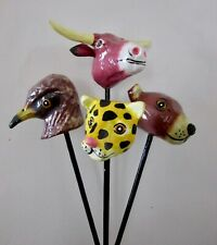 New listing Hand Painted Paper Mache Animal Stick Puppet Shakers