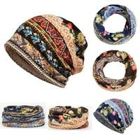 Unisex Print Hat Ruffle Cancer Warm Hat Beanie Scarf Collar Turban Head Wrap Cap