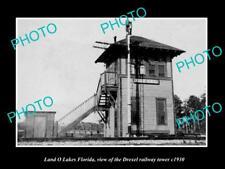 OLD LARGE HISTORIC PHOTO LAND O LAKES FLORIDA, THE DREXEL RAILROAD TOWER c1930