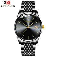KINGNUOS Men Military Sport Stainless Steel Waterproof Analog Quartz Wrist Watch