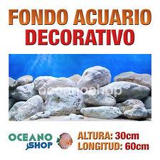 FONDO 60x30cm ACUARIO DECORATIVO VINILO ROCAS BLANCAS CALIDAD D430