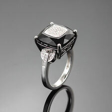 HIGH END 1.00 CT. DIAMOND & BLACK ONYX COCKTAIL RING 18K WHITE GOLD SIZE US6.25