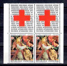 FRANCE PAIRE TIMBRE CROIX ROUGE AVEC VIGNETTE 2392 ** RETABLE ISSENHEIM - 1985
