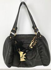 Juicy Couture Black Leather Handbag Satchel Bag Purse with Wallet