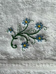 Embroidered forget me not design face flannel, and personalised, £4.95  inc P&P