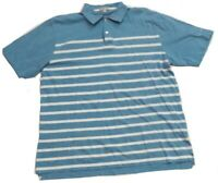 Peter Millar Mens Golf Polo Shirt Blue White Striped Cotton Size Large Large