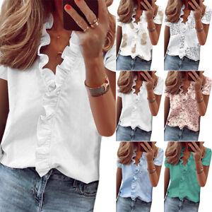 Damen Kurzarm V-Ausschnitt Rüschen Bluse Freizeit Slim Fit Sommer Hemden Tops