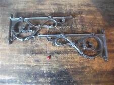 "black Cast Iron fancy Scroll lipped Shelf Wall Brackets  large  9 x 4 1/2"" pair"
