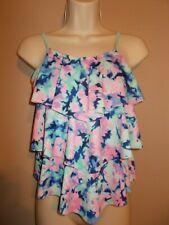 Justice Girls Size 14 Tankini Top Ruffled Front Geometric Pattern Blue Pink