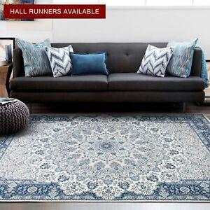 Large Floor Rug Living Room Carpet Blue Distressed Persian Area Rug 200x290cm