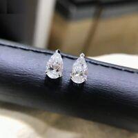 Forever One 2.00 ct Pear Moissanite 14k White Gold FN Screw-back Stud Earrings
