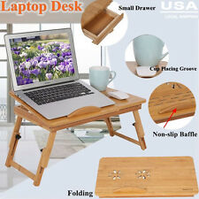 Portable Bamboo Laptop Desk Table Folding Breakfast Bed Serving Tray w/Drawer US