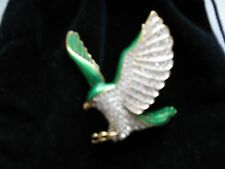 Swarovski Eagle with Pave' Crystals and Green Enamel Signed - STUNNING - New