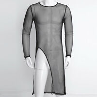 Men Mesh Sheer T-shirt See through Long Sleeve Sexy men's Tight Slim Fit Black
