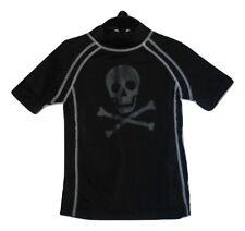 Gymboree Boys Black Skull Short Sleeve Rashguard Swim Shirt Size 4