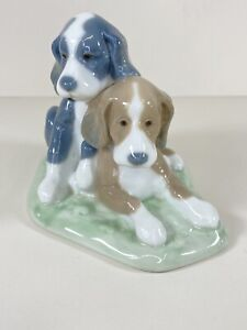 Nao By Lladro Two Dogs 1987 Two Pups Together