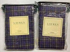 Set of 2 NEW Ralph Lauren STANDARD Sham STUDIO PLAID Purple Striped