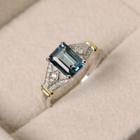 Fashion Women 925 Silver Rings Emerald Cut Aquamarine Wedding Rings Jewelry