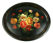 Antique Toleware Hand Painted Floral Black Metal Tin Oval Serving Platter Plate