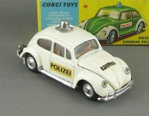 Vintage 60s Corgi 492 Rare White Swiss Polizei Vw Volkswagen vnMint Boxed Beauty