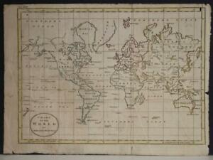 1790 HERMANN MOLL ANTIQUE COPPER ENGRAVED WORLD MAP ON MERCATOR'S PROJECTION