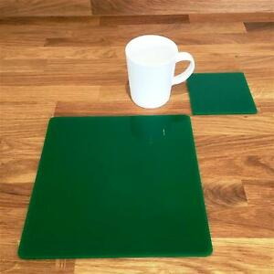 """Square Shaped Green Gloss Acrylic Placemats & Coasters 4/6/8 Size 9""""/12"""""""