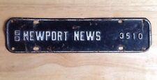 1960 NEWPORT NEWS, VA, VIRGINIA LICENSE PLATE TOPPER, CITY TAX, STEEL, VINTAGE