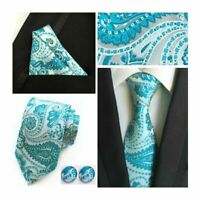 Tie Pocket Square Cufflinks Aqua Silver Paisley Set Individual 100% Silk Wedding