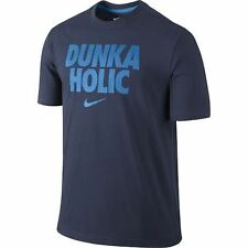 """NIKE Mens Dri-FIT Cotton """"DUNKA HOLIC"""" T-Shirt ** OBSIDIAN/BLUE - L ** NWT"""