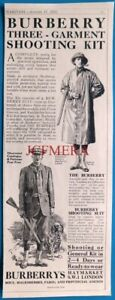 BURBERRY 'Three-Garment Shooting Kit' Advert : Antique 1921 Print