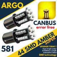 581 BAU15s PY21 Ámbar/amarillo / Naranja 44led BOMBILLAS INTERMITENTES Par 360°