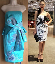 NewWT Karen Millen turquoise evening party oriental origami dress Sz UK 12 £210