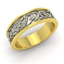 Men's wedding Band / Ring In 6 mm Two Tone Solid 18k Yellow Gold-Free Engrave