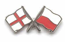 England & Poland Flags Friendship Courtesy Enamel Lapel Pin Badge