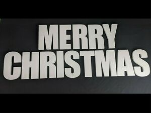 MERRY CHRISTMAS Polystyrene Decorative Letters - 380mm high - 25mm thick
