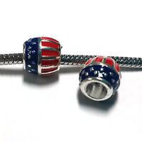 3 Beads - Patriotic United States Flag Enamel Silver European Bead Charm E1368