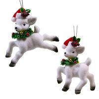 Set/2 White Flocked Reindeer Santa Hat Christmas Tree Ornament Retro Vntg Decor