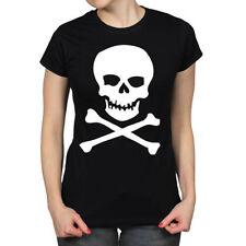 Hip Length Crew Neck Short Sleeve Skull T-Shirts for Women
