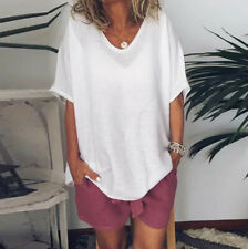Women Casual Summer Solid Short Sleeves Plus Size Tops T-Shirt Blouse S-5XL