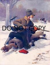 ANTIQUE REPRO 8X10 COVER ART PHOTO PRINT RABBIT HUNTING OLD MAN BEAGLES