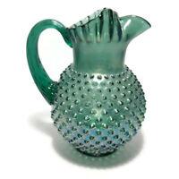 "Vintage Fenton Art Glass Hobnail Pitcher Emerald Green Large 9 3/4"" Tall EUC"