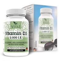 Vitamin, D3 90 Kapseln hochdosiert 2000 I.E ,Sonnenvitamin, vegan, D3,