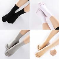 3/5 Pairs Women Mens Toe Five Finger Socks Solid Silk Ankle Stockings Short Sock