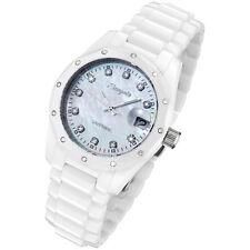 Rougois Women's White Ceramic Watch with 23 Genuine Diamonds R6900-W-WD