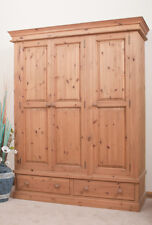 SOLID PINE WARDROBE | Triple 3 Door | 2 Drawer | HANDMADE | DOVETAILED | WAXED