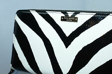 New Kate Spade Lacey Fanfare Wallet Clutch Black White Zebra Leather Bag
