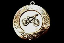 BICYCLE round photo LOCKET comes on 925 Sterling Silver Chain Necklace