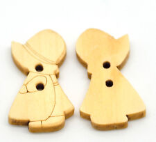 20 HOLLY HOBBIE WOODEN BOY & GIRL BUTTONS ~ 26mm x 15mm ~ Sewing ~ Toppers (77B)